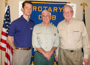 Pictured from left to right are Rotarian President-Elect Kendal Perkins, Michael Dawson, and Sonny Evans.