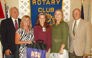 Pictured front left to right are Rotarian, George Rhymes; Jana Lucky; Claire Methvin; Claire's mother, Angela Methvin, and Bill Gordy.