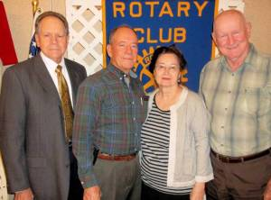 Pictured from left to right are the Rotarian with the Program, Rev. James Carter, Mike Murphy, Glenrose Pitt, and Dudley Pitt.